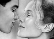 schets van foto | zoenende mensen